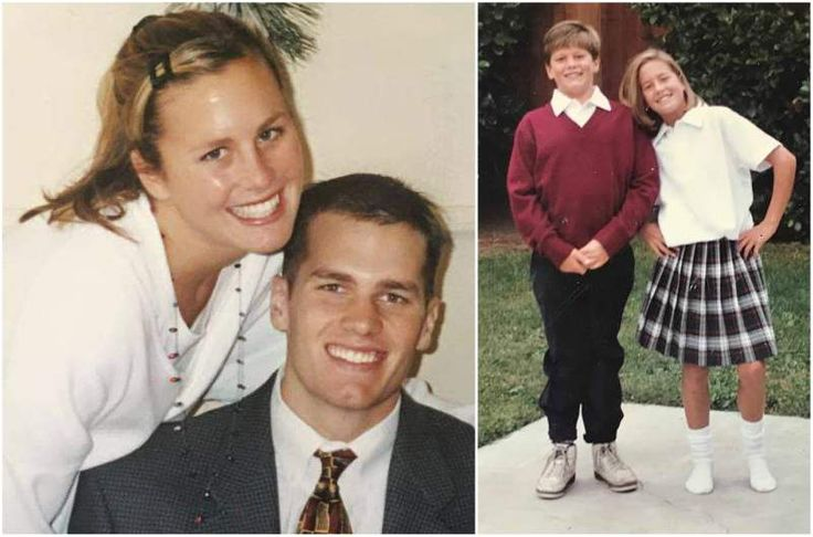 Little Tom Brady with sister Julie Brady