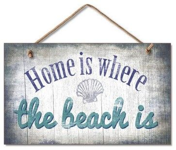 """Wooden Rustic """"Home Is Where The Beach Is"""" Sign 10'' beach-style-novelty-signs"""