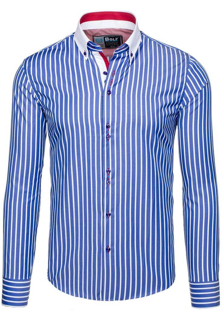 Pánská košile BOLF 5802 modrá MODRÁ | Pánská móda \ Pánské košile \ Košile dlouhý rukáv Pánská móda \ Pánské košile \ společenské Pánská móda \ Pánské košile \ proužkované Przecena 15% | Bolf - Internetový Obchod s Oblečením | Oděv | Oblečení | Kabáty | Bundy
