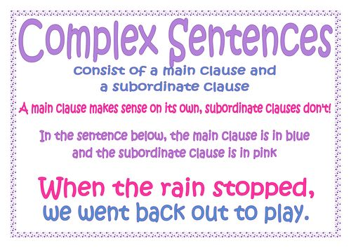 Simple and complex sentences - subordinating connectives by ...