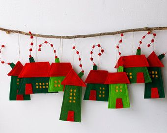 Felt house ornament Yellow Cabins with trees Miniature by Intres