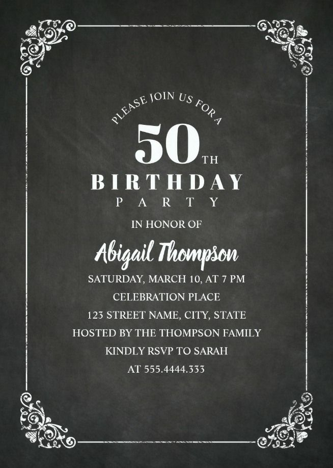 Chalkboard Adult 50th Birthday Party Invitations