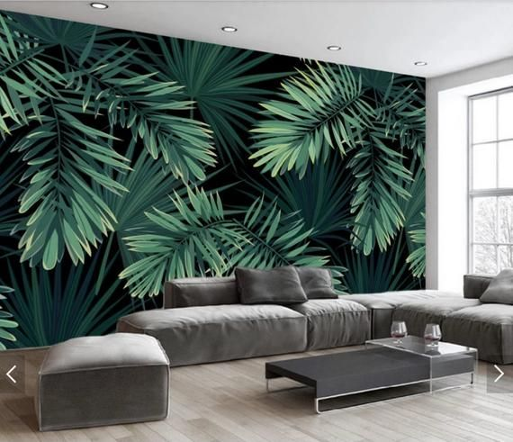 Pin On Products Oil painting tropical trees forest wallpaper wall stickers, beautiful scenery flowers and peacock wall murals wall paper. pin on products