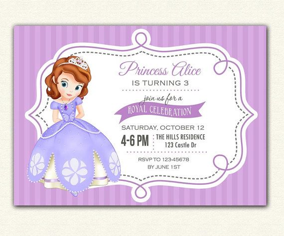 Best Sofia The First Images On Pinterest First Birthdays - 1st birthday invitations girl purple