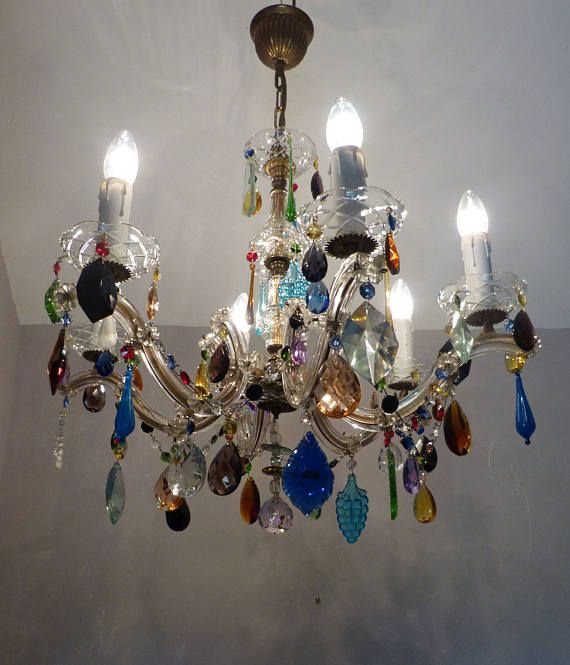 Stunning Large Vintage 6 Arm Marie Therese Chandelier With Multi Colour Crystals Swags Rewired