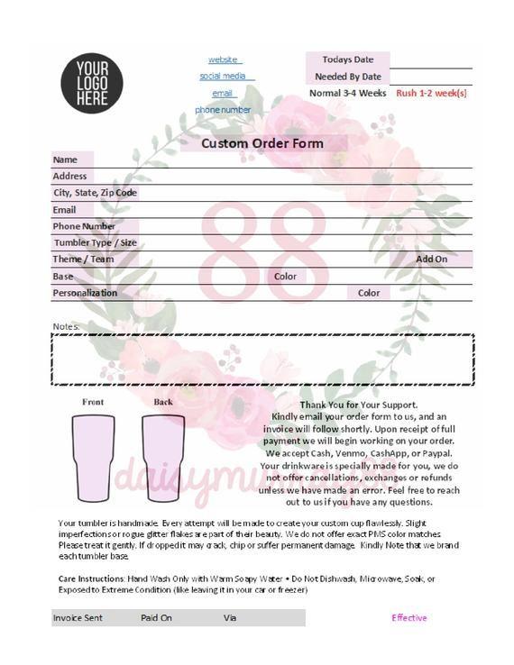 Tumbler Order Form Or Tumbler Invoice Both Generic