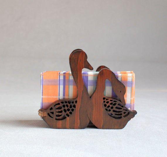 Vintage Wooden Swans, Wood Napkin Holder Swan,Brown Swans Holder, Table Decor, Rustic Kitchen Decor,