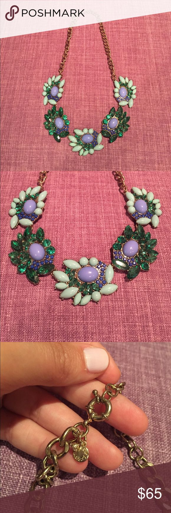 J.Crew Necklace J.Crew necklace never worn.. purchased in their flagship location. Stunning statement piece for a special occasion or for a nice dinner! You can dress up or dress down. It has mint green and forest Crew  touches with a hint of perrywinkle blues J. Crew Jewelry Necklaces