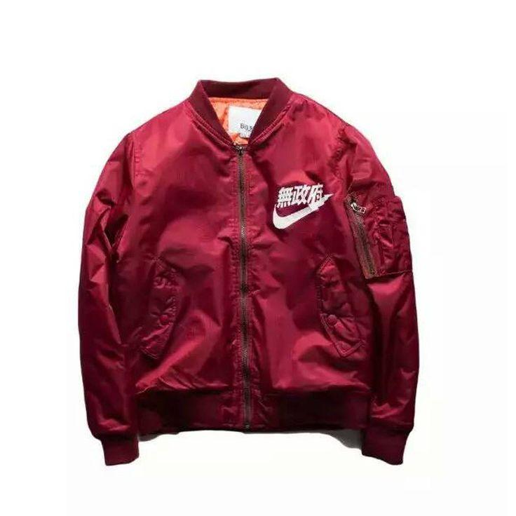 Nike Vestes Pour Hommes Veste En Cuir Rouge
