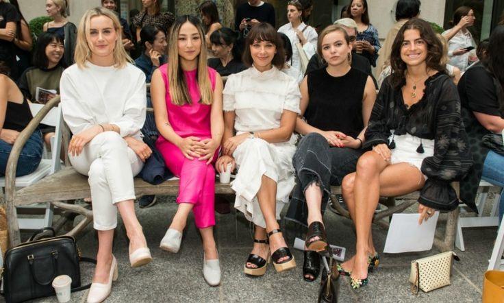 Taylor Schilling, Greta Lee, Rashida Jones, Morgan Saylor and Leandra Medine sat front row during the Rachel Comey fashion show.