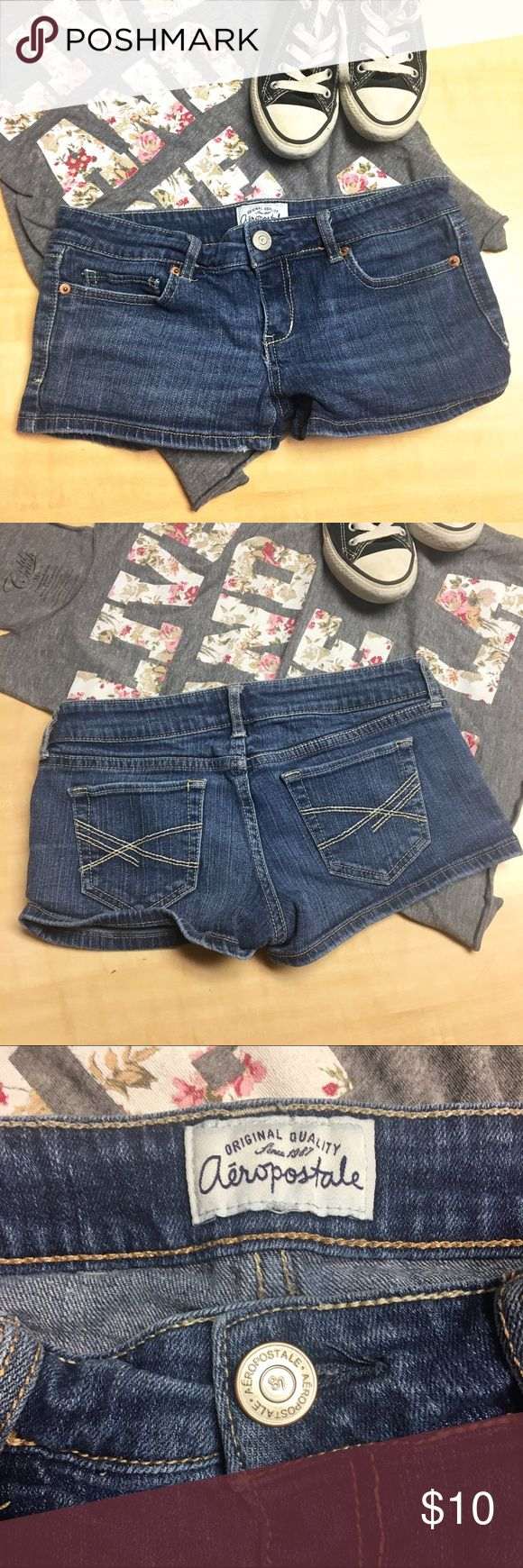 Aeropostale Denim Shorts Size 3/4 - preloved good condition. Only flaw is some fraying on the right legs opening, but it adds character 😝 Bundle & Save!! Aeropostale Shorts Jean Shorts