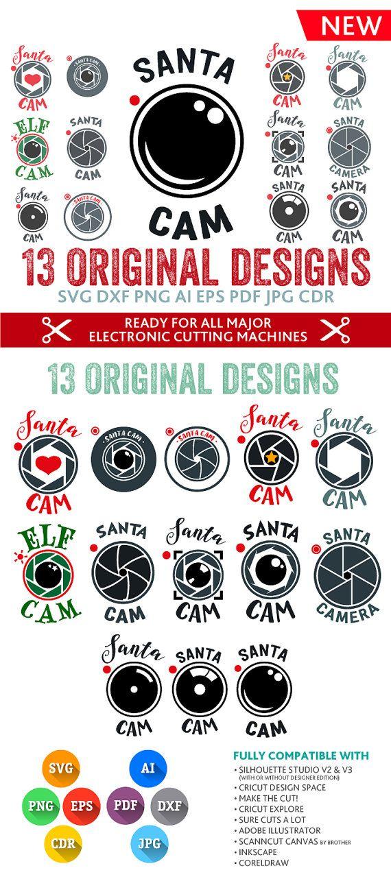 Santa Cam SVG Santa Svg Ornament Svg Santa Camera Svg Monogram Frames SVG DXF Silhouette Studio Png Eps Pdf Jpg Ai Cdr Silhouette, Cricut