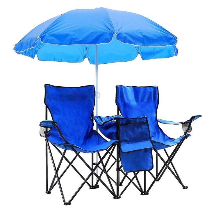 Patio Furniture Portable Folding Picnic Double Chair With Umbrella Table Blue - Chairs