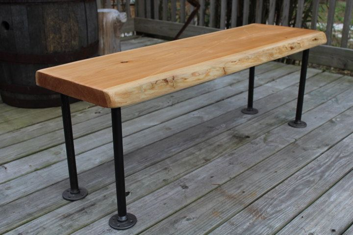 Reclaimed Wood Bench Live Edge Bench Industrial Bench