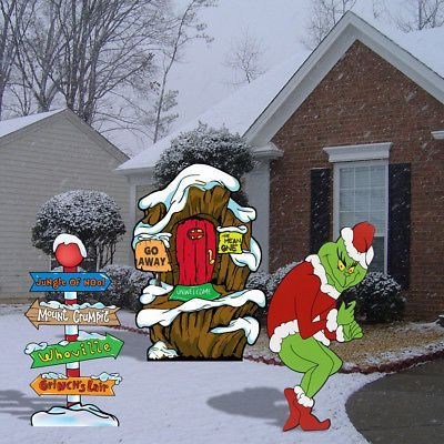 Details About Left Facing Grinch Stealing Lights Yard Art Cindy Max Lair Amp Whoville Pole