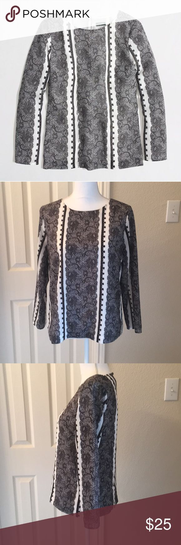 J. Crew Factory Optical Lace Top Beautiful J. Crew Factory Optical Lace Top.  Smooth silky fabric with lace-like design.  Cream with black pattern.  Long sleeves.  Fully lined.  Button closure at back of neck.  See pictures for measurements J. Crew Factory Tops Blouses