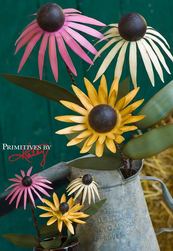 Large metal flowers for your garden, from Primitives by Kathy