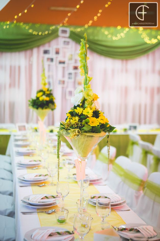 Fresh colors - green yellow wedding decoration in modern style... Enchantée