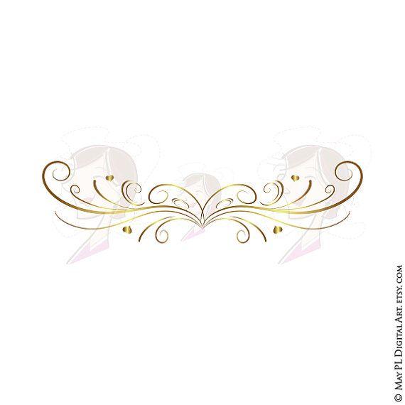 GOLD Retro Swirl Page Border Decoration Elegant Curly ...
