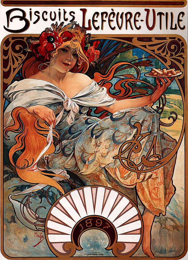 Alphonse Maria Mucha (1860-1939)  Biscuits Lefèvre­Utile     1896