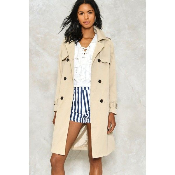 Nasty Gal Rain Check Trench Coat ($80) ❤ liked on Polyvore featuring outerwear, coats, beige, beige coat, beige trench coat, nasty gal, double breasted coat and trench coat