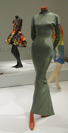 A grey Azzedine Alaia dress (front), from 1986-1987, acetate.
