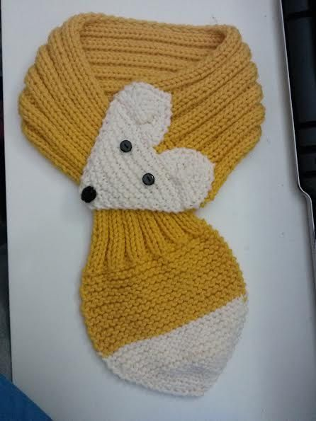 Adjustable Fox Scarf For KIDS ,Mustard, Hand Knit Scarf / neck warmer
