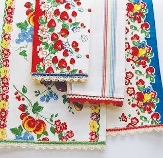 Colorful vintage kitchen linens
