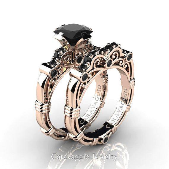 Art Masters Caravaggio 14k Rose Gold 1 25 Ct Princess Black Etsy In 2020 Engagement Rings Wedding Bands Set Black Sapphire Engagement Rings Black Diamond Ring Engagement