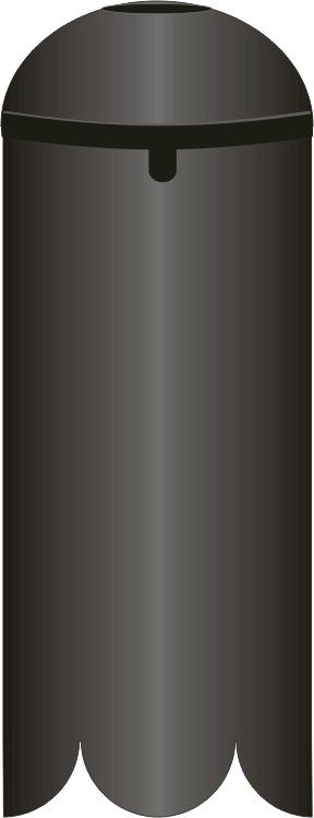"SB1D  Dome Top Baffle. Cylindrical Squirrel Baffle for poles 1/2"" to 1-5/8"" diameter. 16-3/4"" Long and 6"" diameter. black."