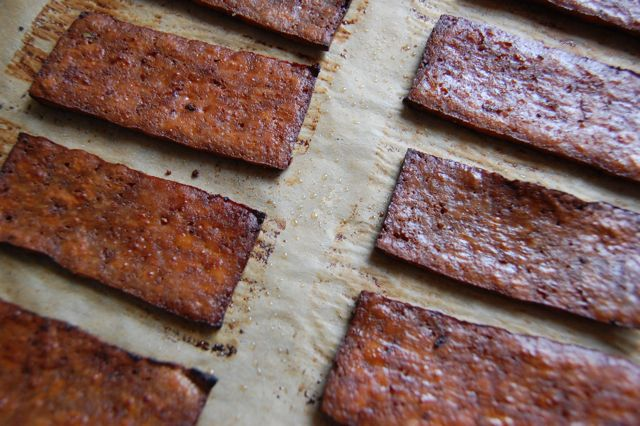 Tofu Bacon :: Was so excited to find this recipe because a vegan cafe back home…