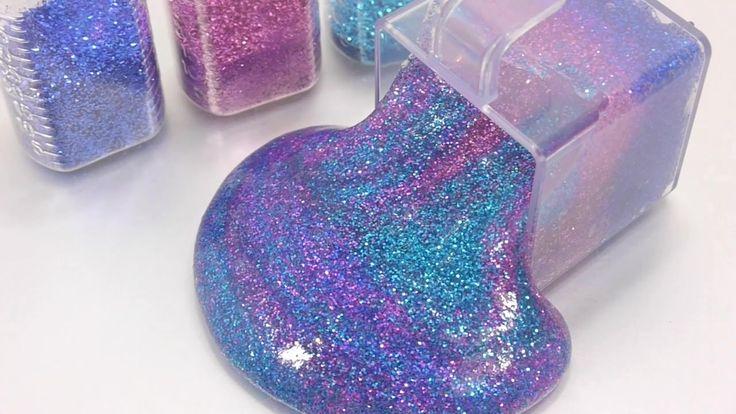 How To Make 'Glitter Galaxy Clay Slime' Recipe DIY Toys PomPom !! 반짝이 갤럭시 액체괴물 만들기!! 액괴 클레이 슬라임 장난감 - YouTube