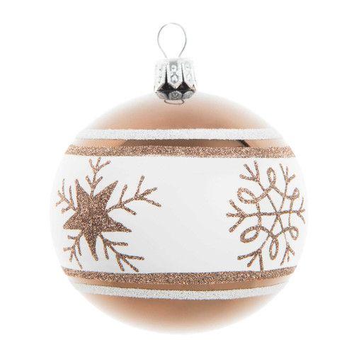 Boule de no l cristaux en verre marron blanche d 7 cm winter noel pintere - Pinterest boule de noel ...