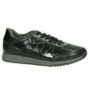 Tamaris Lage Sneaker met Slangenprint Zwart