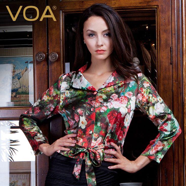 Encontrar Más Blusas y Camisas Información acerca de Camisa de seda de VOA nueva floral streetwear de manga completa blusa de satén B106 delgado temperamento de la manera, alta calidad blusas de moda, China blusa de la manera Proveedores, barato blusa de satén de VOA Flagship Shop en Aliexpress.com