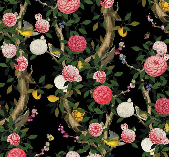 Garden Bloom Night by Kingdom Home. Designs for Interiors by Kenneth King, digitally printed only by Emily Ziz.