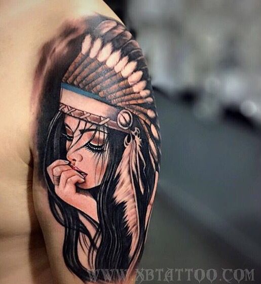 Native American Indian girl tattoo. LOVE!!!