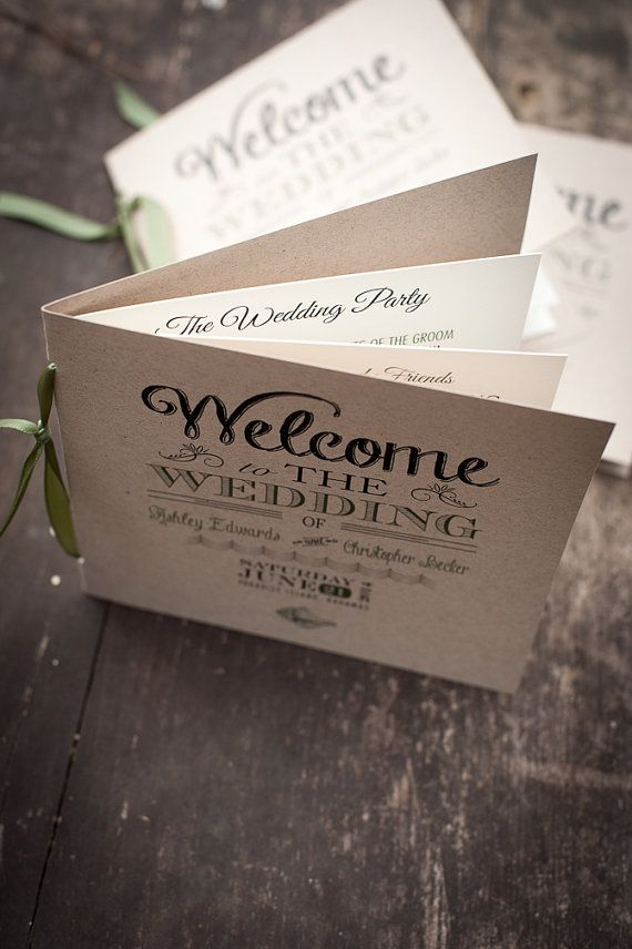DIY Order of Service Wedding Program Beach by FossilLetterpress