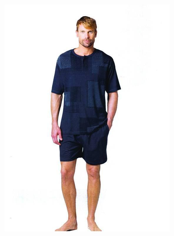 Esquijama de verano Guasch. Pijama para hombre en AZUL MARINO y pantalón de punto a juego. La camiseta lleva unos parches de diferentes motivos. 100% Algodón http://www.varelaintimo.com/marca/9/guash