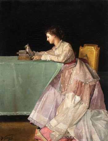 Seated Woman with Books - Jules Adolphe Goupil