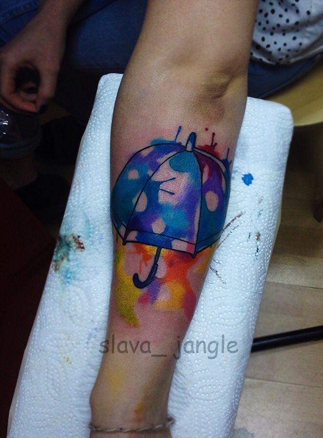 акварельная татуировка зонтик