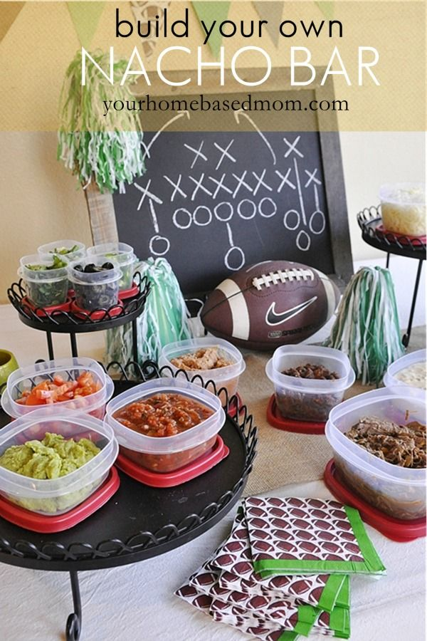 Build your own Nacho Bar perfect for Super Bowl parties  @yourhomebasedmom.com. I love how she uses pie tins from the dollar store for people to build their nachos in. Then you just pop the pie tin in the oven under the broiler to melt cheese and make everything warm and bubbly - genius!