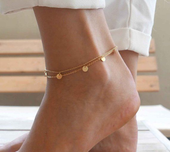 Gold Chain Ankle Bracelet Bride/'s Anklet Ankle Jewelry Gold and White Bead Chain Anklet Beach White Crystal; Bead Anklet Summer