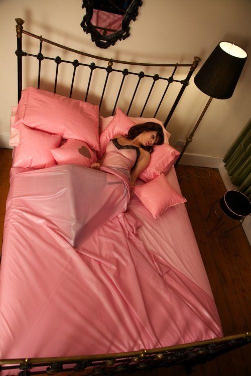 Pink latex bedding