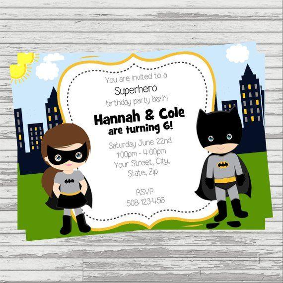 Batman Batgirl Twins Joint Party Custom DIGITAL Birthday Invitation Invitations