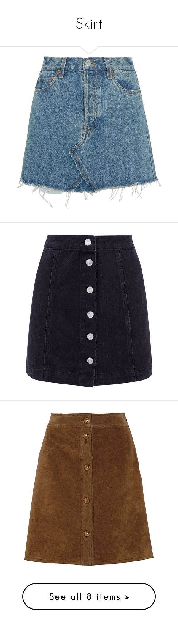 """Skirt"" by eleonore-plot ❤ liked on Polyvore featuring skirts, mini skirts, bottoms, saias, blue, short mini skirts, high waisted mini skirt, short blue skirt, distressed denim mini skirt and short skirt"