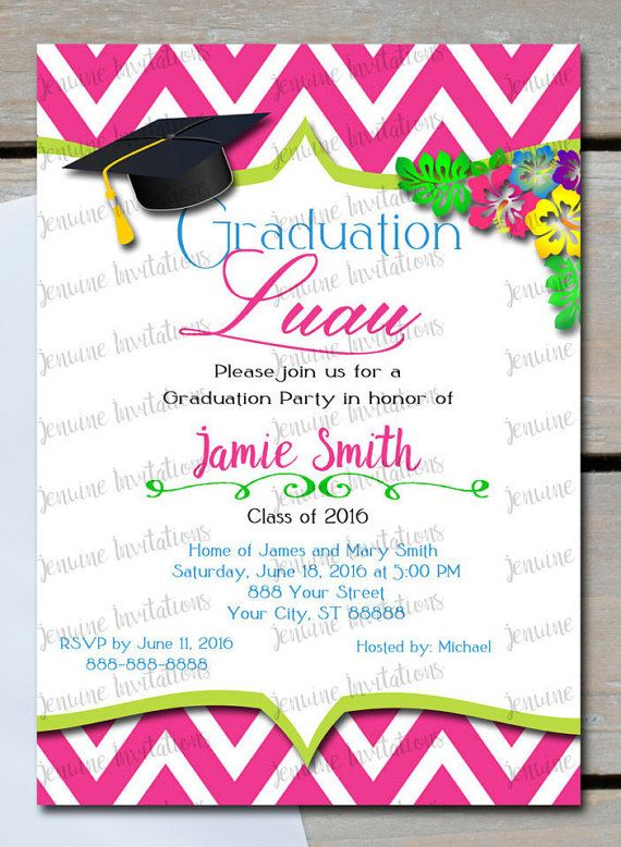 Graduation Luau Invitations Party Celebration 5x7 Printed