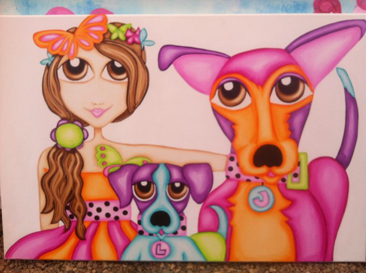 Family pet portrait of a little girl with her very cute dogs ❤