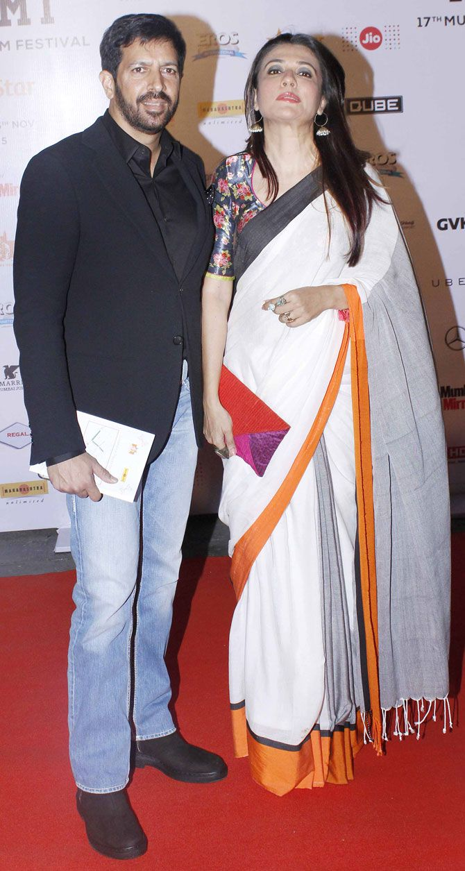 Kabir Khan and Mini Mathur at the opening ceremony of the MAMI Film Festival. #Bollywood #MAMI2015 #Fashion #Style #Beauty #Hot #Saree #Desi