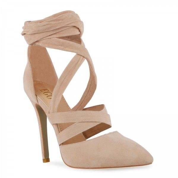 Adele Stiletto Lace Up Court Heels In Nude Faux Suede ($39) ❤ liked on Polyvore featuring shoes, pumps, pointy toe stiletto pumps, faux suede t-strap pumps, strap pumps, sexy pumps and pointed toe high heels stilettos
